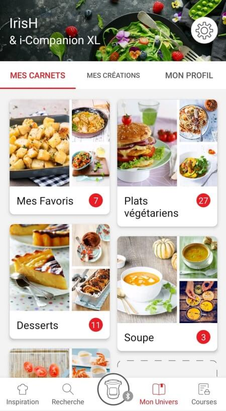 recipes booklets page in the Companion app