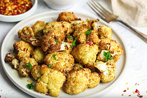 Roasted Cauliflower With Lemon Sauce By Nadia's Healthy Kitchen