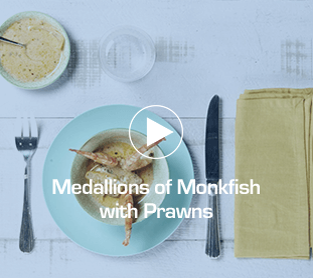 Medallions of Monkfish with Prawns