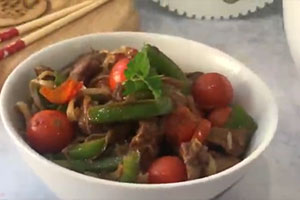 Beef sauteed with Peppers and Ginger