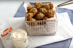 Healthy Breaded Mushrooms by Easy Cheesy Vegetarian