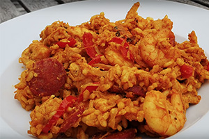 Chicken, Chorizo And Seafood Paella by Two Chubby Cubs