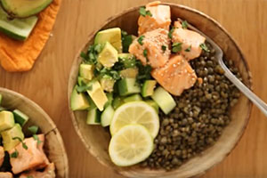 Asian Salmon in Coconut milk with Lentils by The Petite Cook